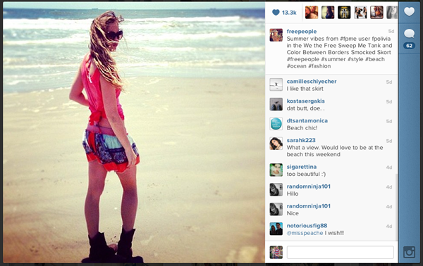 Free People frequently uses hashtags to build brand exposure.