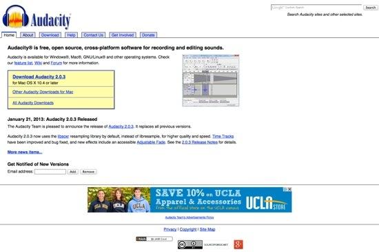 Audacity website
