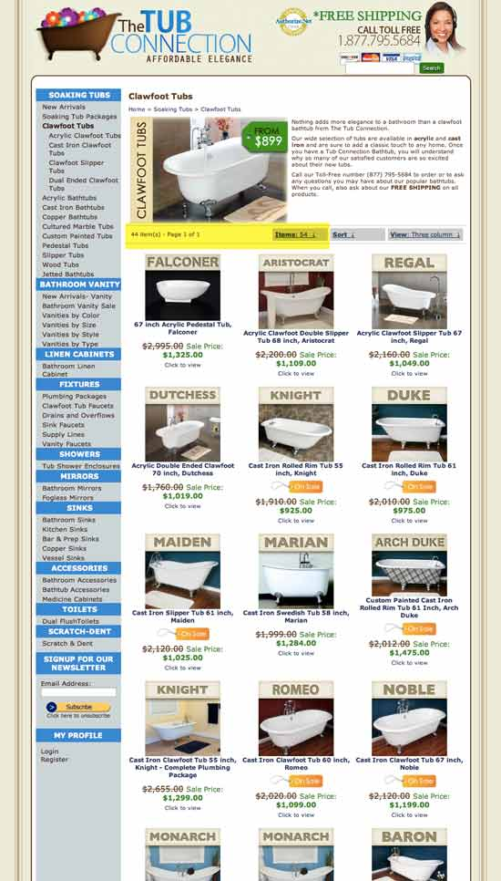 The Tub Connections main category page where tubs are sorted by brand.