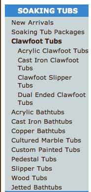 The Tub Connections clawfoot tub menu listing types of soaking tubs
