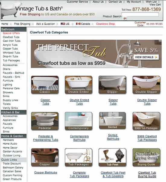 Vintage Tub and Baths website offering limited choices based on finely honed categories.