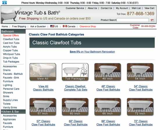 Types of Classic Clawfoot Tubs are subcategorized in subsequent category page.