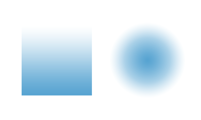 The two most common gradients are linear and radial.